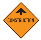Construction signs are have an orange background with black symbols and lettering. These mark temporary conditions along the roadway.